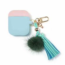 AirPods HIPERDEAL Adequado para Apple caso, capa protetora bonito gota (capa de silicone e caso) com chaveiro bola de cabelo fofo(China)