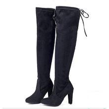 Seksi aşırı diz botları kadın botları kadın kış ayakkabı kadın süet uzun çizmeler bayanlar uyluk yüksek çizmeler bota Botas Mujer(China)