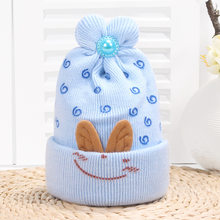 Baby Girls Boys Hats Infant 4 Color Winter Warm Hat Baby Cartoon Smiling Face Crochet Knitted Hat Kids Wool Beanie Cap For 0-6M(China)