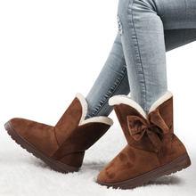 Kadın botları papyon kış kar botları katı kadın yarım çizmeler üzerinde kayma kadın rahat ayakkabılar yuvarlak ayak bayanlar ayakkabı Botas Mujer(China)