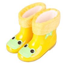 Novo outono inverno botas de chuva crianças com pelúcia quente tornozelo botas meninos da criança do bebê pvc à prova dwaterproof água sapatos crianças meninas 03b(China)