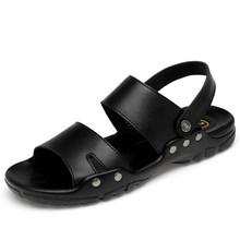 Toptan erkekler PU deri plaj sandaletleri siyah Casual Flats yaz ayakkabı moda tasarımcısı Zapatos De Mujer el dikiş terlik(China)