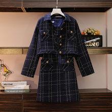 Модный твидовый костюм для женщин осень зима плед кнопка мини платье наборы 2019 уличная куртка костюм(China)
