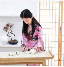 الأطفال الفتيات اليابانية ازياء كيمونو اللباس مع اوبي الاستحمام رداء يوكاتا للأطفال الفتيات الرقص ارتداء 120-150 سنتيمتر الفتيات كيمونو جديد(China)