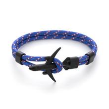 Lato Hot Boeing samolot kotwica bransoletka mężczyźni Nylon Rope Chain Charm bransoletki dla kobiet przetrwania styl lotnictwa Sport bransoletka(China)