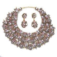 Dvacaman Luxus Kristall Schmuck Set für Frauen Schwarz Strass Bib Erklärung Halskette & Drop Earrrings Hochzeit Bankett Braut Geschenk(China)