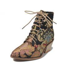 Adisputent Vrouwen Luxe Zijde Laarzen Martin Enkellaars Herfst Winter Borduren Womens Motorlaarzen Lace Up Schoenen Snake Skin(China)