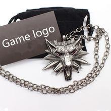Mago 3 juego de caza salvaje colgante collar Geralt animal metal enlace cadena cabeza de Lobo collar vapor 1 bolsa 1 tarjeta calidad original(China)