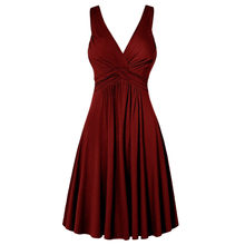 Kobiety Plus rozmiar dekolt w serek Retro Sling plisowana szczupła rozszerzana spódnica sukienka odzież robocza 2020 wiosna lato w pasie Midi Vestidos femme(China)