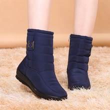 Bottines femmes chaussures zipper solide décontracté dames plate-forme chaussures femme bottes de neige chaud en peluche hiver femmes bottes botas mujer(China)