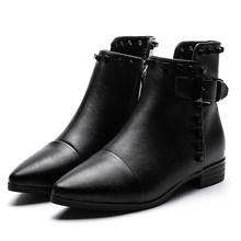 Gdgydh Seksi Perçin Sivri Burun Çizmeler Ayak Bileği Kadın Düşük Topuklu Bayanlar Chelsea Çizmeler Siyah Deri Punk Tarzı kadın ayakkabısı Parti Için(China)