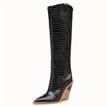 Thương Hiệu Giày Bốt Nữ Mũi Nhọn Da Bò Giày Tây Chất Lượng Hàng Đầu Đen Nữ Giày Cao Gót Mùa Đông Đầu Gối Boot Nữ Cổ Cao giày(China)