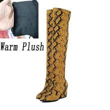 2019 kadın diz yüksek kış çizmeler blok 9cm yüksek topuklu uzun uyluk bayan peluş sıcak kar botları sarı yılan derisi ayakkabı(China)