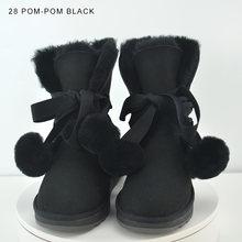 INOE peau de mouton daim cuir naturel fourrure doublée mode femmes cheville bottes d'hiver bottes de neige courtes haute QualityClearance vente(China)