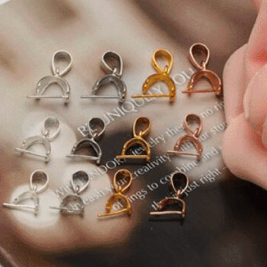 925 Sterling Silver Pinch Clip Bail Clasp for DIY Charms Pendants Connector Keychain Jewelry Making Gold