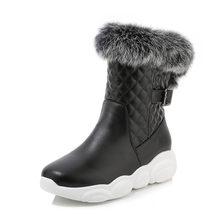 MoonMeek 2020 große größe 33-46 mode komfortable schnee stiefel karree flache ferse pu leder winter stiefeletten für frau(China)