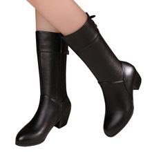 Moda kış kadın ayakkabı saf renk yuvarlak ayak düz renk fermuar çizmeler kare topuklu Vintage kadın botları şişeler Femme temel(China)