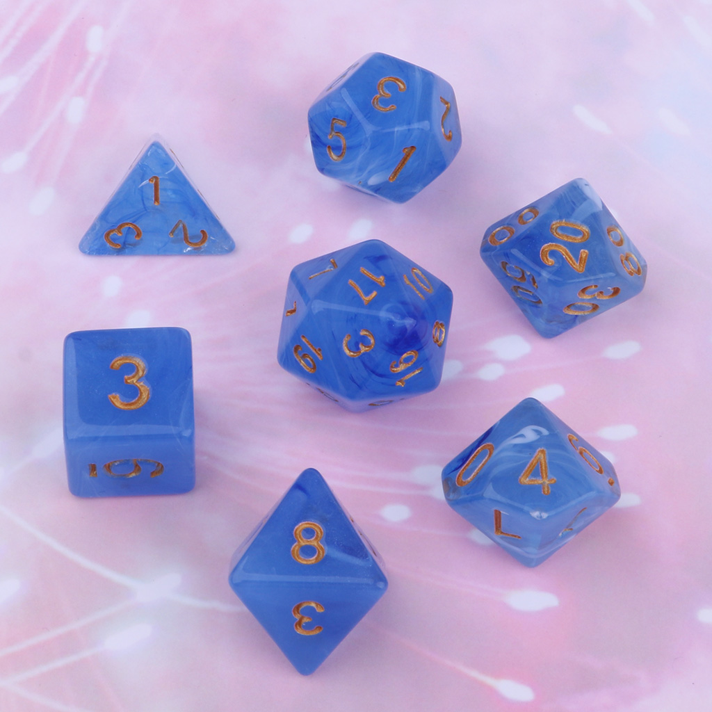 7pcs Gem Acrylic Polyhedral Dice for Dungeons and Dragons D4 Dices Cup Games 1.6cm Good for Dice Game Lovers