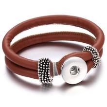 Nowy pleciony pasek ze skóry przystawki przycisk bransoletka Fit 20MM 18mm Snap biżuteria ręcznie robione skórzane 18mm Snap bransoletki zatrzaski biżuteria(China)