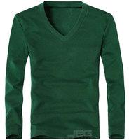 к 2015 году новых Весна высоких упругих лайкра верхней / хлопок Мужская с длинным рукавом v шеи туго t рубашка Мужская случайный тонкий футболка 8 цветов c127