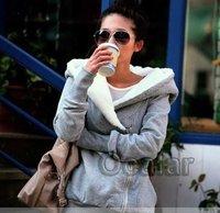 серый моды женщин застегивать топы балахон Куртка Пальто Верхняя одежда Толстовки размер: xl