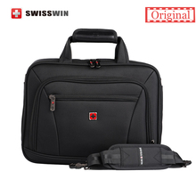 "Swisswin Laptop Briefcase For Macbook Classic Black Nylon 14"" laptop Bag Multifunctional Men's Shoulder Bag Portfolio Male Bag(China (Mainland))"