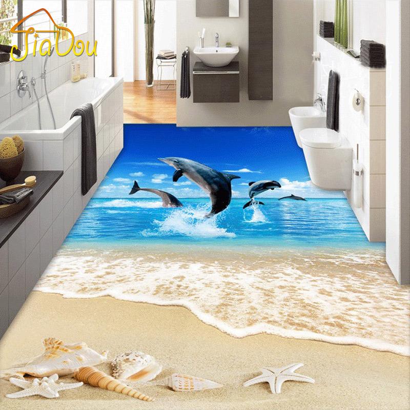 Custom 3d floor wallpaper surf beach shells starfish for 3d wallpaper for home floor