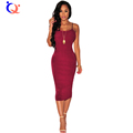 QY New Sexy Women Backless Bodycon Dress Solid Slash Neck Sleeveless Knee Length Summer Dress Vestidos