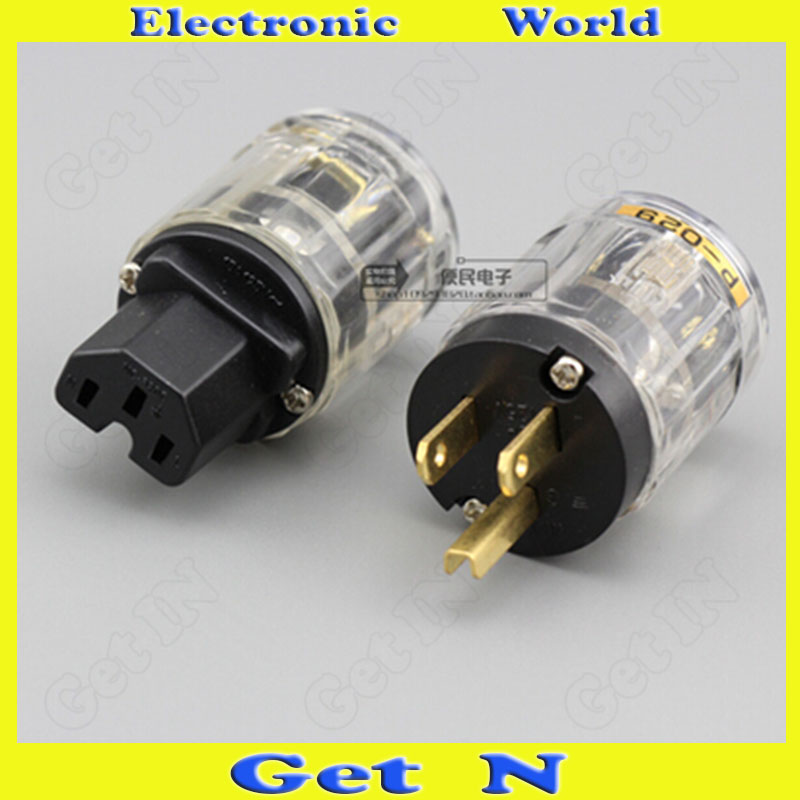 10pcs (2pcs=1pair) Brand New For Oyaide American Standard Power Connector Hifi Power Plug Transparent Shell Po29 C029 Power Jack<br>