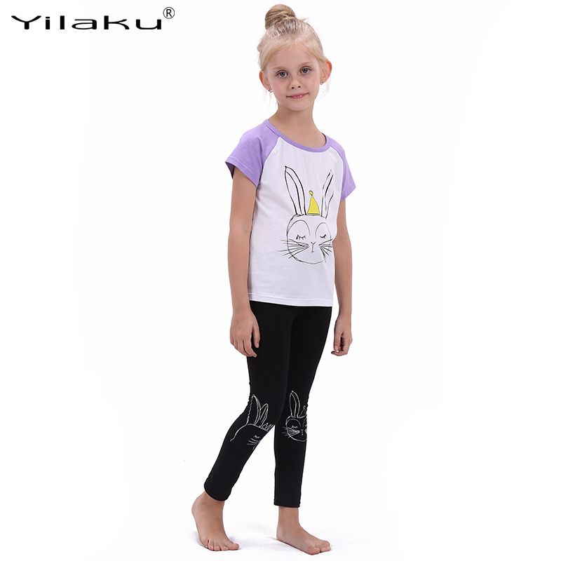 Girls Fashion Cartoon Suit Children Clothing Set Short Sleeve Rabbit T-shirt+Leggings Sport Suits Girl Kids Summer Clothes Sets(China (Mainland))
