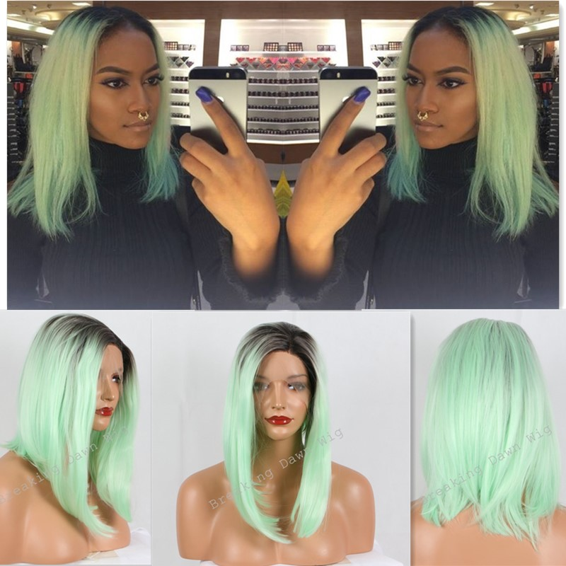 Kylie Jenner Christmas mint green ombre wig dark roots long bob wig synthetic lace front wig heat resistant soft straight hair от Aliexpress INT