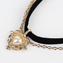 Buy 2017 Hot sale imitation pearl love heart Pendant Necklaces Clavicle Chains necklace Fashion Chain Necklace Women Jewelry for $1.27 in AliExpress store