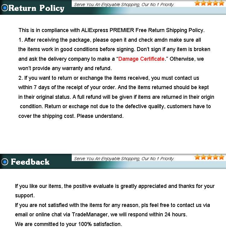 return policy and feedback