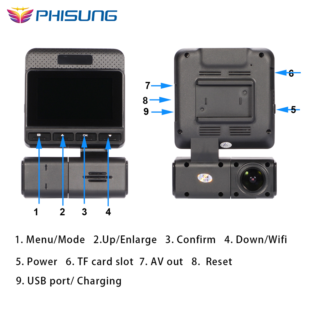 Phisung G300 dash cam FHD 1080P 170 degree WDR auto camera Night vision camera car WiFi wireless Real time monitor app dashcam