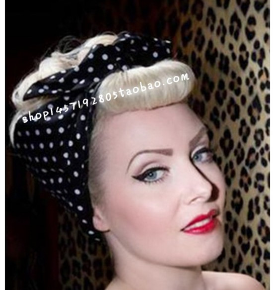 women vintage 50s white black polka dot hair tie scarf band accessories bow headband rockabilly pin up bandans wire wrap(China (Mainland))