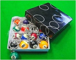 32mm Billiard Snooker ball key chain, Nine-ball Pool table with ring accessory(China (Mainland))