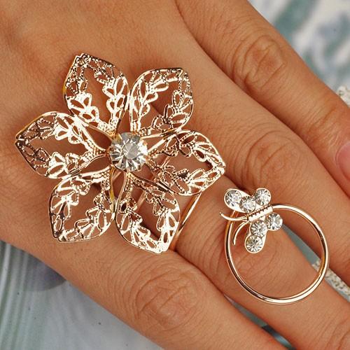 Кольцо цветок золото