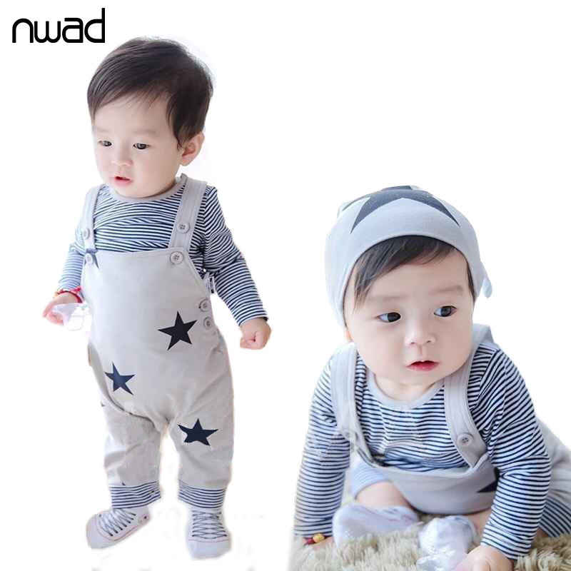 Baby Girl Boy Clothes Set 2016 Striped Stars Printing Clothing Suit For Baby Kids Long Sleeve T Shirt +Suspender Pant FF031(China (Mainland))
