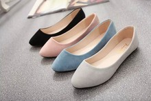 2016 New Fashion Women's Flock Flat shoes Candy Color Zapatos Mujer Summer Ballet Flats Casual Single Shoes woman footwear(China (Mainland))