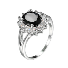 Buy MJARTORIA FUNIQUE Luxuxy Black Zircon Ring Women Crystal Fashion Engagement Wedding Rings Women Band CZ Stone Silver Color for $2.84 in AliExpress store