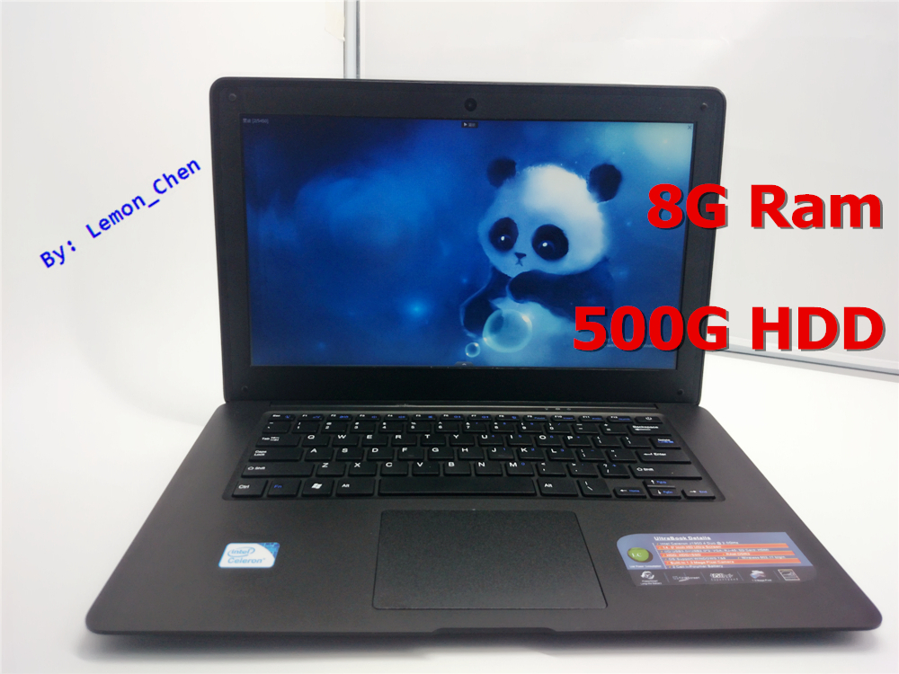 Cheap 14 Laptop Computer Notebook Celeron J1900 Quad Core 8G RAM 500GB HDD Windows 7/8 WIFI Webcam Portable Laptops PC 3 Color(China (Mainland))