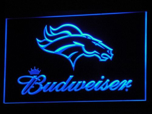 b294 Denver Broncos Budweiser Club LED Neon Sign with On/Off Switch 7 Colors to choose