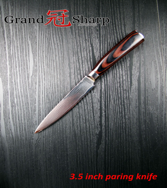 Buy GRANDSHARP 3.5 Inch Paring Knife High Quality 67 Layers Japanese Damascus Stainless Steel VG-10 Core  Kitchen Tools Fruit Knife cheap
