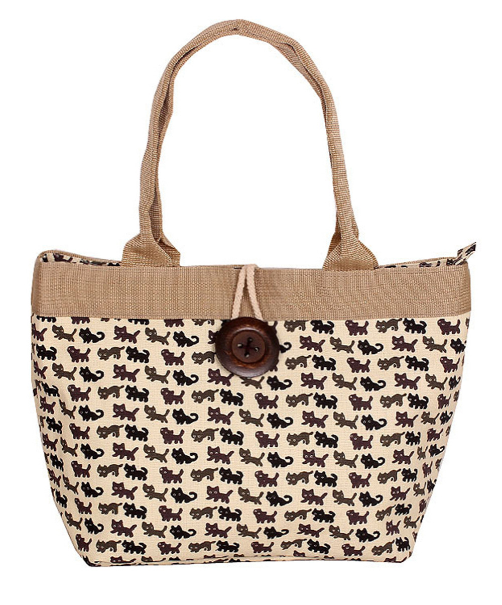 New arrival Ladies cats printed style canvas tote bag everyday bag handbag(China (Mainland))