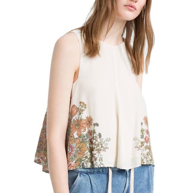 Женщины сладкий цветочный рукавов летние топы вернуться крест свободный о шеи шифон ...