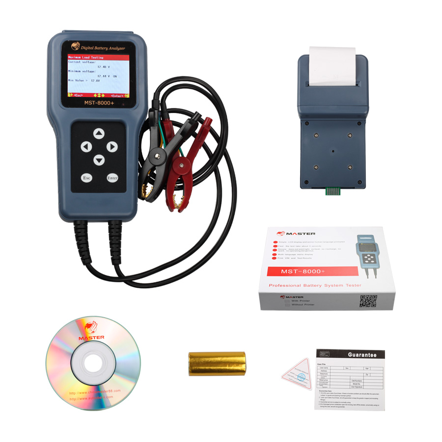 New Car Battery Tester with Printer MST8000+ Digital Battery Analyzer mst8000 plus(China (Mainland))