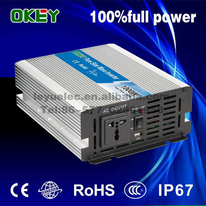 off grid home solar system 1000w 12v to 220v DC/AC type power inverter CE ISO9001 pure sine wave inverter with European socket<br>