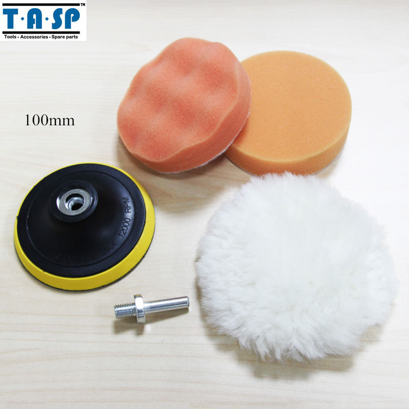 TASP 100mm Car Polishing Pad Set Wet Foam Buffing Pads for Car Styling with Drill Adaptor M10(China (Mainland))