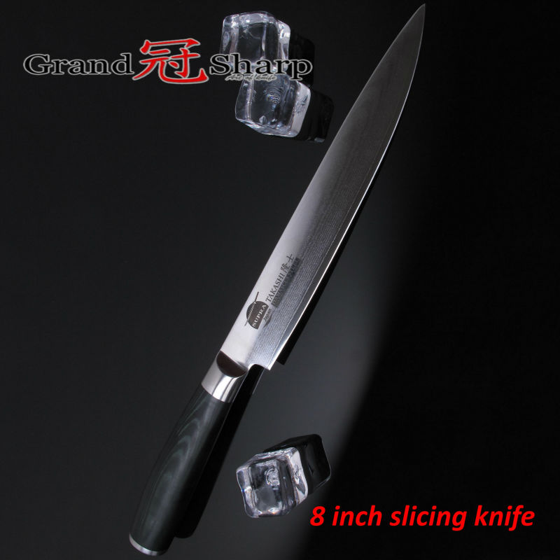 Buy Grandsharp 8 Inch Slicing/Carving Knife 67 Layers Japanese Damascus Stainless Steel VG-10 Core Kitchen Knives Sashimi Sushi NEW cheap