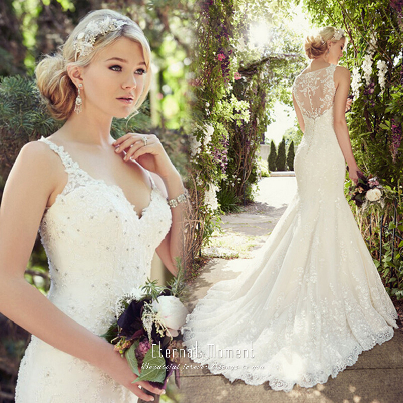 Vintage Sexy Lace Mermaid Wedding Dress 2016 Spaghetti Strap Modest ...